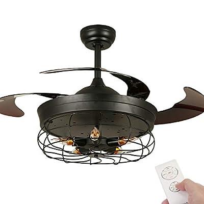 Vintage Ceiling Fan with Light,42 Inch Retractable Ceiling Fan Light with Remote Control, Industrial Chandelier Fan with 5 Edison Bulbs, Not Included, Black