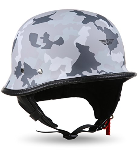 "MOTOHelmets® D33 ""Army Snow"" · Brain-Cap · Halbschale Jet-Helm Motorrad-Helm Roller-Helm Scooter-Helm Bobber Mofa-Helm Chopper Retro Cruiser Vintage Pilot Biker · Schnellverschluss Tasche L (59-60cm)"