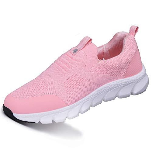 Damen Sneaker mit Keilabsatz Bequeme Plateau Freizeitschuhe Frauen Fitness Sportschuhe Mode Laufschuhe Leicht Turnschuhe Pink D 35EU=Etikettengröße:36