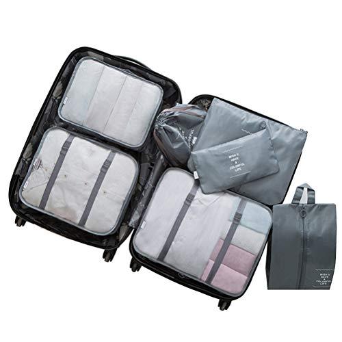Jemous - Organizador de equipaje de viaje con bolsa de lavandería y cubos de embalaje para llevar maleta plegable, transpirable, resistente al agua, duradero para acampar, senderismo, vacaciones
