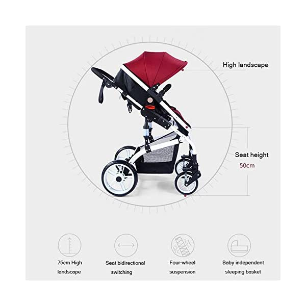 JXCC Baby Stroller Ultra Light Folding Child Shock Absorber Trolley Can Sit Half Lying 0-3 years old,25kg maximum -Safe And Stylish Blue JXCC 1.{All seasons} - Three-sided leaky net design, the awning can be adjusted at multiple angles, easy to cope with the sun 2.{75CM high landscape} - Baby can stay away from the surface heat, car exhaust, for the health of the baby 3.{3D stereo shock} - X-frame setting, evenly dispersing the upper weight, rear wheel two-wheel brake 3