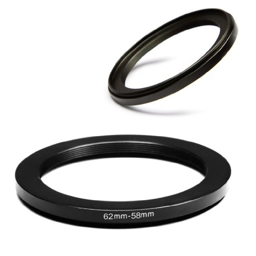 Generic 62-58mm Step Down Adapter Ring 62mm Lens to 58mm Metal Filter for Sigma Tamron Sony Alpha A57 A77 A65 DSLR Cameras