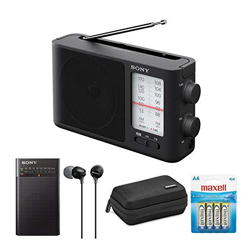 Sony ICF-506 Analog Tuning Portable FM/AM Radio and Sony ICFP26 Handheld AM/FM Radio Radio with Sony Earbuds, ICFP26 case, and 4 AA Batteries Bundle (5 Items)