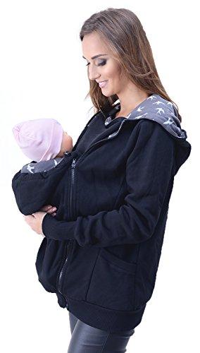 Mija - 3in1 Tragejacke, Umstandsjacke Tragepullover für Tragetuch für Babytrage 4046 (EU40 / L, Schwarz)