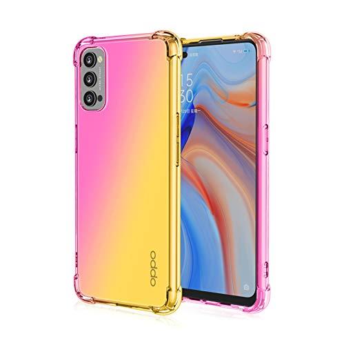 GOGME Hülle für Oppo Reno 4 Pro 5G (Reno4 Pro), Farbverlauf-TPU Handyhülle, [Vier Ecken Verstärken] Weiche Transparent Silikon Soft TPU Hülle Schock-Absorption Durchsichtig Schutzhülle (Pink/Gold)