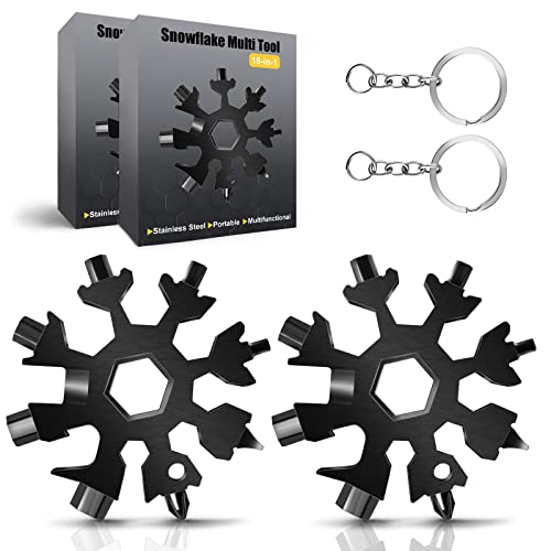 Snowflake Multi Tool, 2PCS 18 in 1 Snowflake Tool Stainless Steel Snowflake Handy Tool with Keyring (Black)