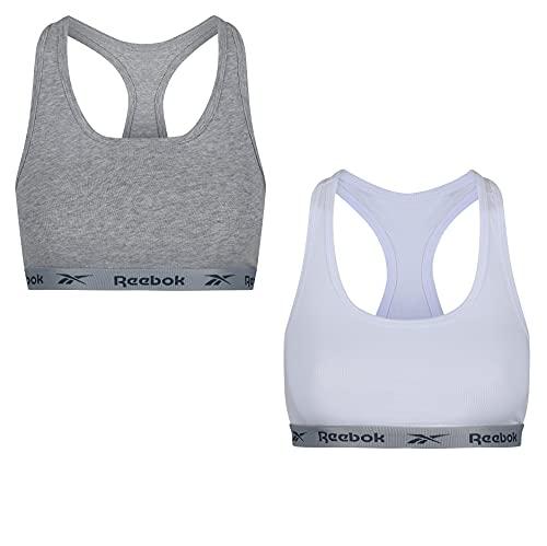 Reebok Womens Crop Top Frankie 2pk White/Grey Marl Camiseta, Blanco/Gris Marga, XS Mujer