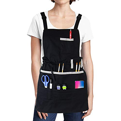 FreeNFond Adjustable Artist Apron with Pockets for Women Men Unisex Adults Canvas Painting Aprons for Arts Gardening Utility or Work