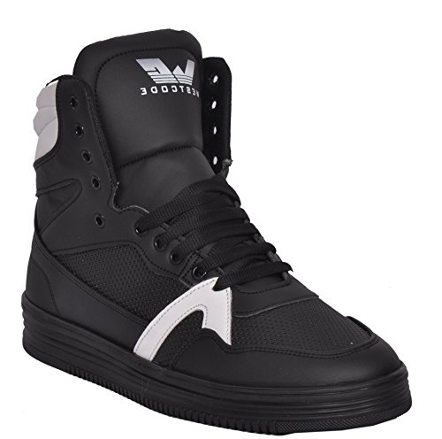 West Code Mens Boots Synthetic Leather High Top Casual Sneaker Online Shoes 9017 -White-Black-8