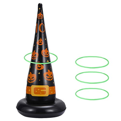 TOYANDONA Halloween Ring Toss Game Set Inflatable Witch Hats Kids Halloween Party Favors Inflatable Game Rings Holiday Toys for Kids Toddlers