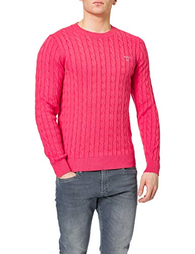 GANT Cotton Cable Crew Suéter, Rosa Oscuro Mel, XXXL para Hombre
