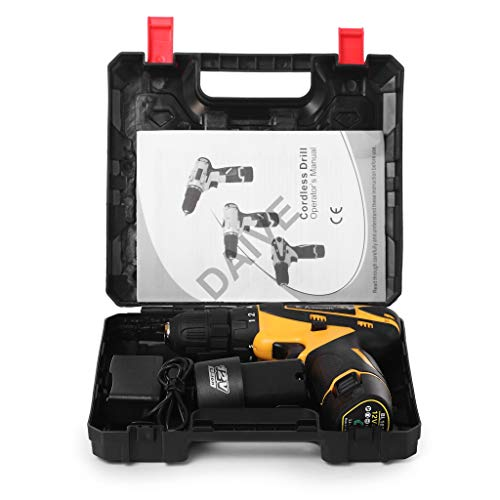 DAIVE Multi-Function Hard Plastic Cordless Drill Machine 12V Lithium-Ion 1.5Ah with 2 Batteries (Black & Yellow) & Two Speed Control - LED Light Guided - Keyless Chuck - Reverse Forward Motion Screw Driver 10mm.