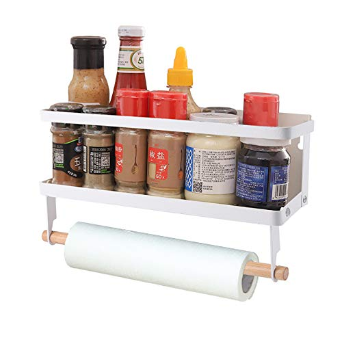 YCOCO Magnetic Paper Towel Holder for Refrigerator, Spice Rack with 2 Removable Mobile Hooks,Multi Function Magnetic Wall Mount with Shelf,Easy to Install The Side of The Refrigerator,White