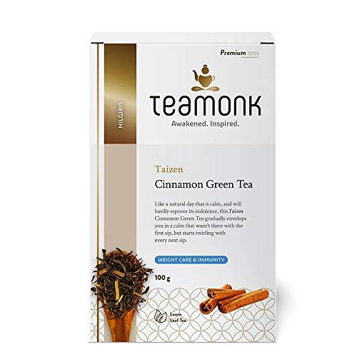 Teamonk Taizen Nilgiri té verde cannelle (50 tazas)   té de canela premium   té para bajar de peso   té adelgazante   inmunidad de apoyo   hojas sueltas   sin aditivos - 100g