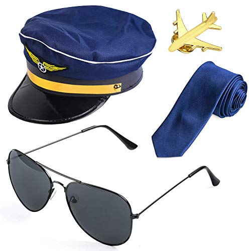 Beelittle Airline Pilot Captain Kostüm-Set Pilot Dress up Zubehör-Set mit Aviator-Sonnenbrille (D)