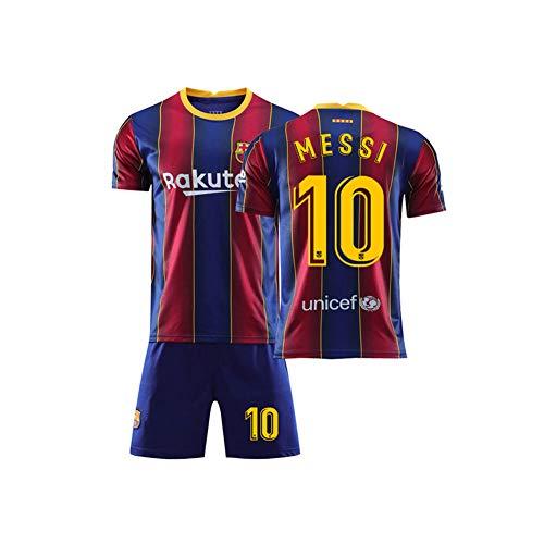 Fußball Trikot Fútbol Club Barcelona Lionel Andrés Messi Cuccitini #10 Set 2019-2020 Auswärts Kinder Fußball Trikot Mit Shorts Kindergrößen,Rot,28