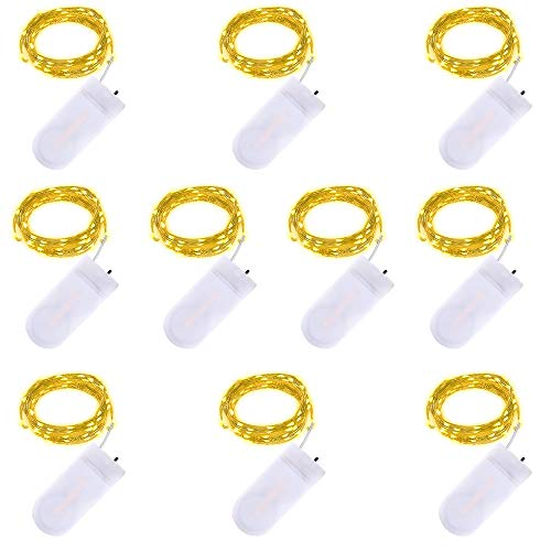 LED Fée Chaîne Lumières - 2m 20 LED Fonctionnant sur batterie Fil de cuivre Étanche Guirlandes lumineuses pour les vacances Mariage Fête Noël DIY Décorations, blanc chaud, paquet de 10