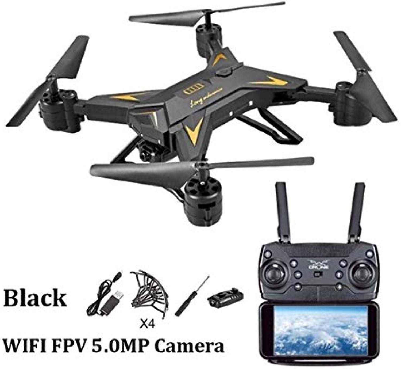 FODUIV Lange Batteriedauer Faltendes Luftfotodrohne vierachsiges FlugzeugWiFiBildFernsteuerungsflugzeug mit eingebauter Batterie blacker FPV 5.0MP Kamera