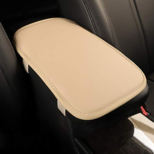 Dotesy Auto Center Console Cover Armrest Pads, PU Leather Universal Car Center Console Box Arm Rest Pads Cushion Protector (Beige)