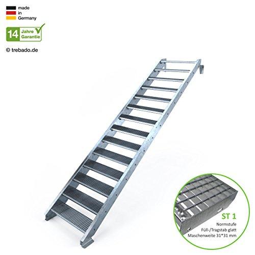 Außentreppe 14 Stufen 90 cm Laufbreite - ohne Geländer - Anstellhöhe variabel von 233 cm bis 280 cm - Gitterroststufe ST1 - feuerverzinkte Stahltreppe mit 900 mm Stufenlänge als montagefertiger Bausatz