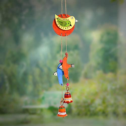 Unravel India Carillon à vent en bambou Motif oiseau Multicolore