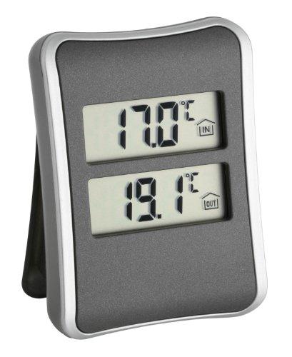 TFA Dostmann digitales Innen-Aussen-Thermometer, 30.1044, Außentemperatur über Kabel, Höchst- und Tiefstwerte, Überwachung von Gefriergerät/Aquarium, anthrazit