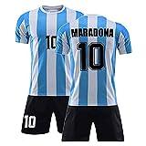 Yagerod Conjunto de Camiseta de fútbol Retro Conmemorativa - Diego Maradona No. 10 Camiseta de fútbol de Argentina Local - Camiseta y Pantalones Cortos de Argentina 1986 para niños Adultos M
