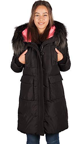 Grimada 6M165M Dames Parka winterjas TARORE met echt bont capuchon zwart