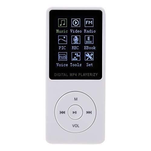 Mp3 Mp4 Player, Portable USB2.0 1.8-inch TFT Display HiFi Music Player Digital MP3 Sports MP4 Vedio Music Player/Full-Band FM Stereo Radio (White)