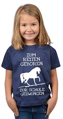 Reiter - Schule Sprüche Kinder-Shirt - Pferde Motiv Mädchen-Shirt : Zum Reiten geboren zur Schule gezwungen - Kinder Pferde Tshirt - Reiterinnen Shirt Gr: M = 134-140