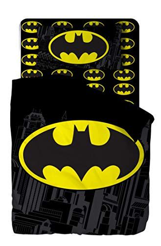 Batman Juego de ropa de cama, sábana encimera de 150 x 280 cm, sábana bajera de 90 x 200 cm y funda de almohada de 52 x 82 cm.