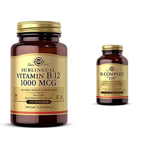 """Solgar Vitamin B12 1000 mcg, 250 Nuggets - Supports Production of Energy, Red Blood Cells - Healthy with B-Complex """"100"""", 100 Vegetable Capsules - Heart Health - Nervous System Support - Supports En"""