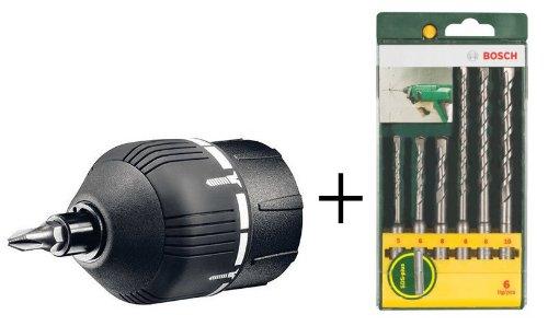Bosch Zubehör Set – 6 teiliges SDS-plus-S2 Bohrer Set und Drehmomentaufsatz für IXO III
