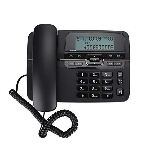 Garsent snoergebonden telefoon, beller-ID-weergave, snoergebonden desktop-telefoon, multifunctionele tafelloper met grootknops en directe telefoonfunctie, zwart