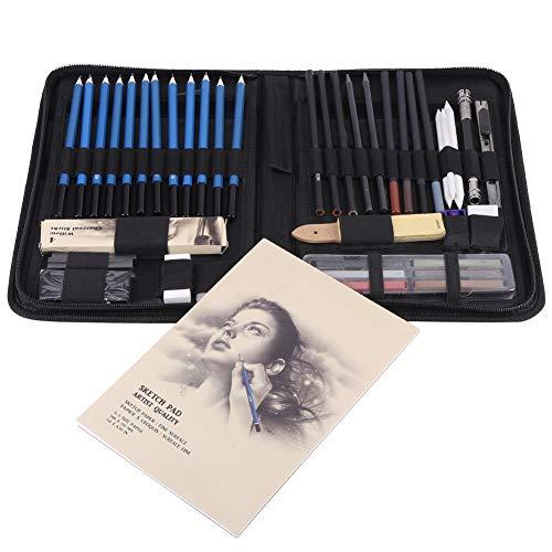 48 STÜCKE Skizzieren Bleistifte Set, Professionelle Skizze Bleistift Set Malwerkzeuge, Graphitkohlestifte Skizzierstifte, mit Zubehör und Tasche