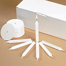 Religious Gifts Church Vigil Devotional Unscented 1/2 x 4 1/4 Inch White Candle with Drip Protector - 100 per Box