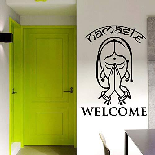 SUPWALS Palabras de Bienvenida, calcomanías de Pared, Yoga Indio, Namaste, Vinilo, Adhesivo para Pared, creativos, decoración del hogar, Sala de Estar, Entrada a la Oficina, Camino