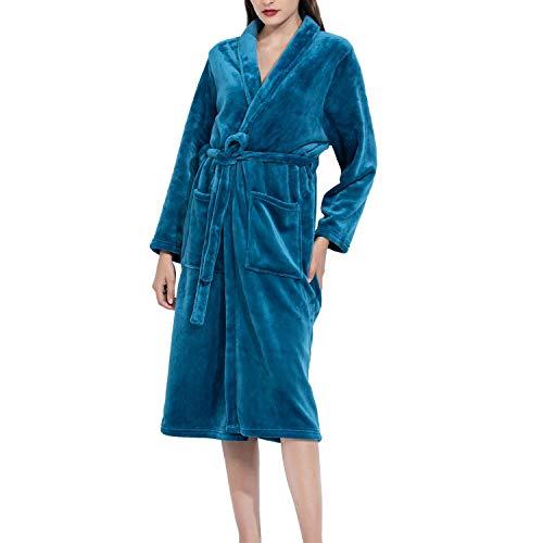Micv Damen Bademantel Senden Sie trockene Haarkappe , Morgenmantel flauschig Bath-Robe, Blau, XL