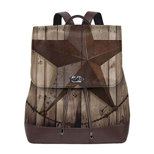 Flyup Women's Leather Backpack Vintage Texas Star School Bag Elegant Casual Daypack Travel Shoulder Bag For Mens Frauen Leder Rucksack