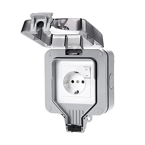Vtuik Enchufe Exterior IP66, enchufes Impermeables para Exteriores, Toma de Corriente con Interruptor y luz indicadora, para Interior y Exterior, Garaje, Piscina, jardín.
