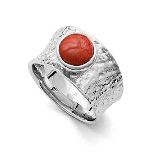 DUR Breiter gehämmerter Ring mit Roter Koralle, Sterling-Silber 925 Größe 56 (17.8) - Damen