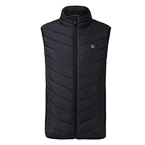 Elektrisch vest voor mannen en vrouwen, warm vest, warme kleding, buitenvest met USB-verwarming, winterjas S. zwart