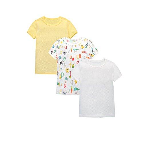 CuteOn 3 Pack Unisexe Bébé Manche Courte Ultra Mince Engrener T-Shirt/Tee en Coton Jaune 36 Mois
