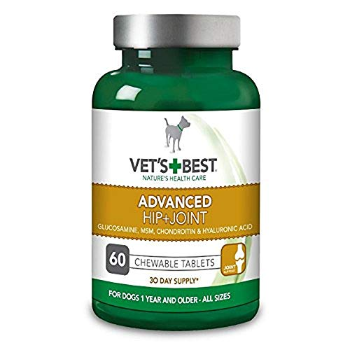Vet's Best Advanced Hip and Joint Dog Supplements Formulated with Glucosamine and Chondroitin to Support Dog Joint and Cartilage Health, 60 Tablets