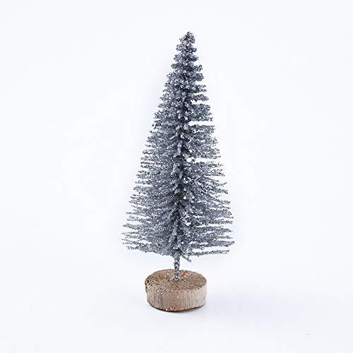 Weihnachtsbaum 8 stücke Kleiner DIY Weihnachtsbaum Gefälschte Kiefer Nadeln Mini Sisal Flasche Bürste Weihnachtsbaum Santa Schnee Frost Dorf Haus Easy Montage (Weihnachtsbaum Höhe: 12,5 cm, Farbe: Sil