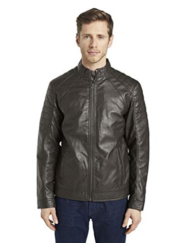 TOM TAILOR Herren Jacken & Jackets Bikerjacke aus Lederimitat Dark Chocolate Leather Brown,M