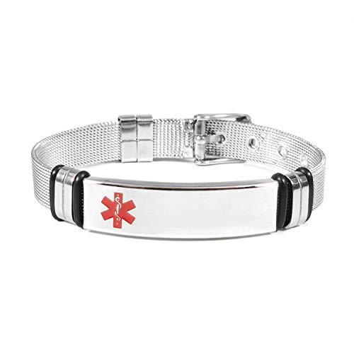 Pulsera médica de acero de titanio ajustable médica Lettering malla cinturón curvado marca médica pulsera hombres y mujeres