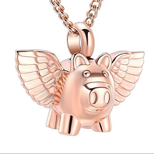 Collar De Urna De Cremación Colgante De Joyería Conmemorativa Collar De Urna De Cremación De Cerdo Volador Para Cenizas Acero Inoxidable 5 Piezas De Oro Rosa