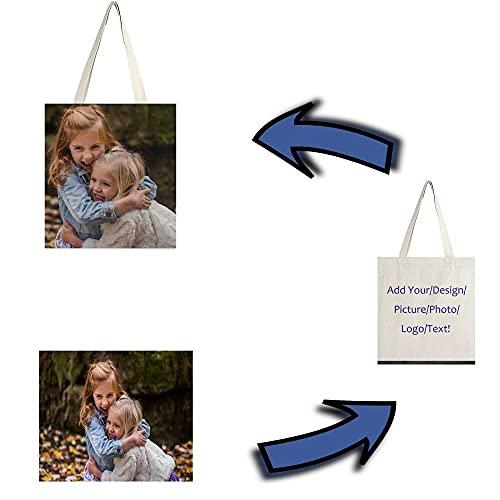 Bolsa de tela personalizada con foto y texto,Tote bag,personalizable,Bolsas de mano personalizadas de 38X42 cm,lona con refuerzo personalizado con logotipo de texto de fotos, Personalizado por Dos