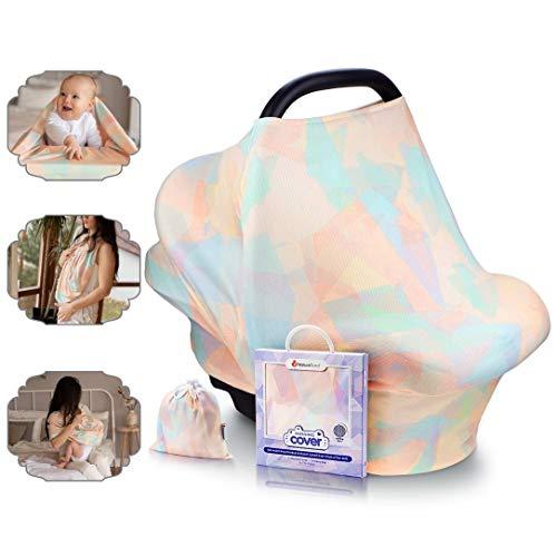 Manta de lactancia NatureBond | La manta de algodón más transpirable y segura | Multiusos: Dosel para silla de coche para bebé, cubierta para trona, bufanda, cobertor para carriola (Sunset Orange)
